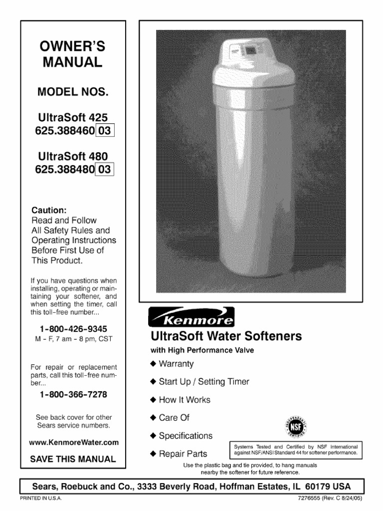 Watersoftner Ultrasoft 425 480 Manualpdf Sodium Chloride Bleach Unit Parts Diagram List For Model 609215810 Searsparts Faucet