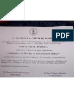 Invitación a lanzamiento de libro sobre Prov. de Bolívar