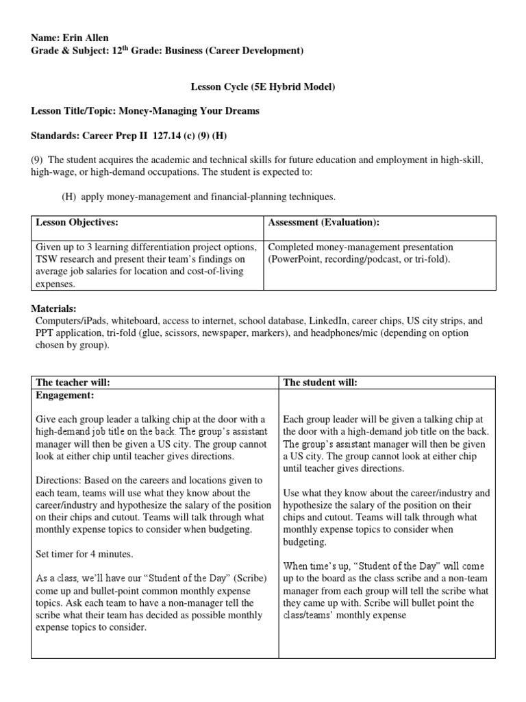 5e lesson cycle micro teach 3 6 16 17 cost of living expense