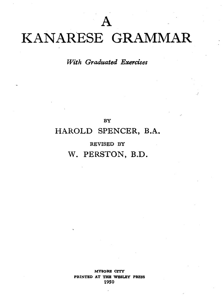 Harold Spencer-A Kanarese grammar _ with graduated exercises-Wesley