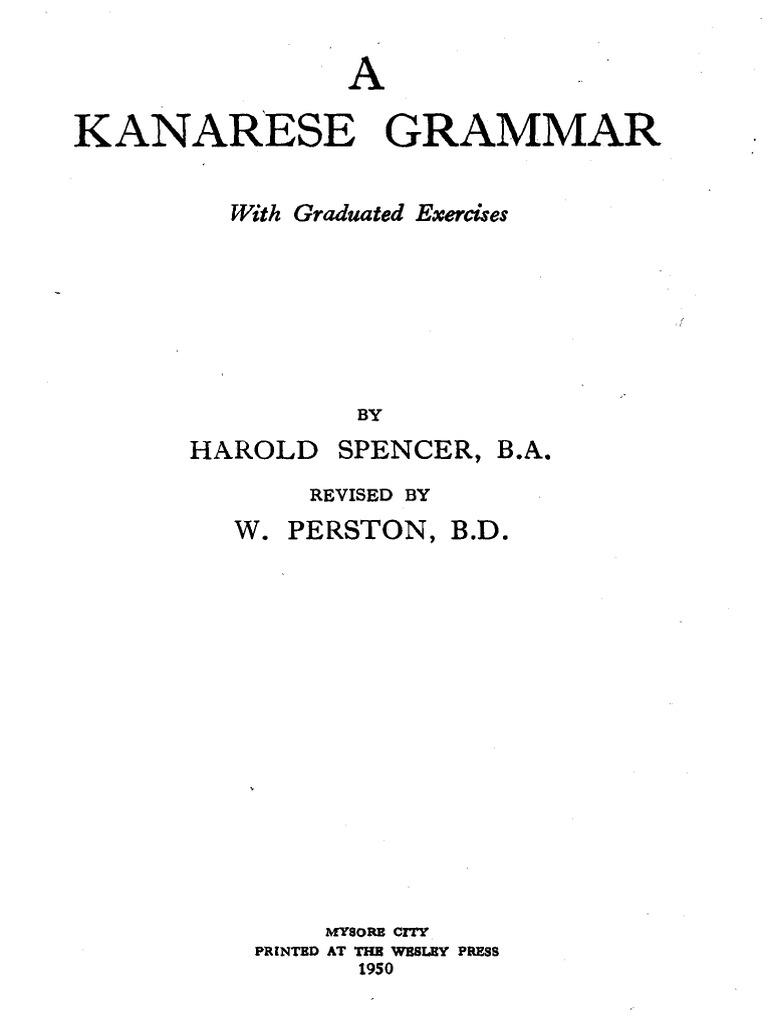 b012080e9e5b Harold Spencer-A Kanarese grammar _ with graduated exercises-Wesley ...