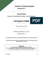 Bac Std2a 2017 Physique Sujet