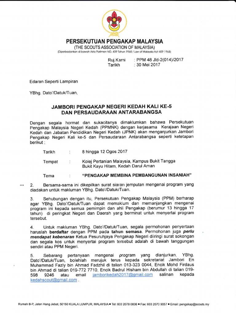 Semua Surat Borang Jambori Pengakap Negeri Kedah Ke 5