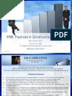 Manajemen SDM Di Perusahaan Konstruksi