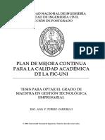 UNI Plan de Mejora Contínua Para La Calidad Académica