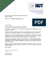 Carta de La NUT en Solidaridad Con FECODE_Español