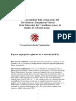 Projet de règlement sur le bénévolat - Mémoire de la section locale 135