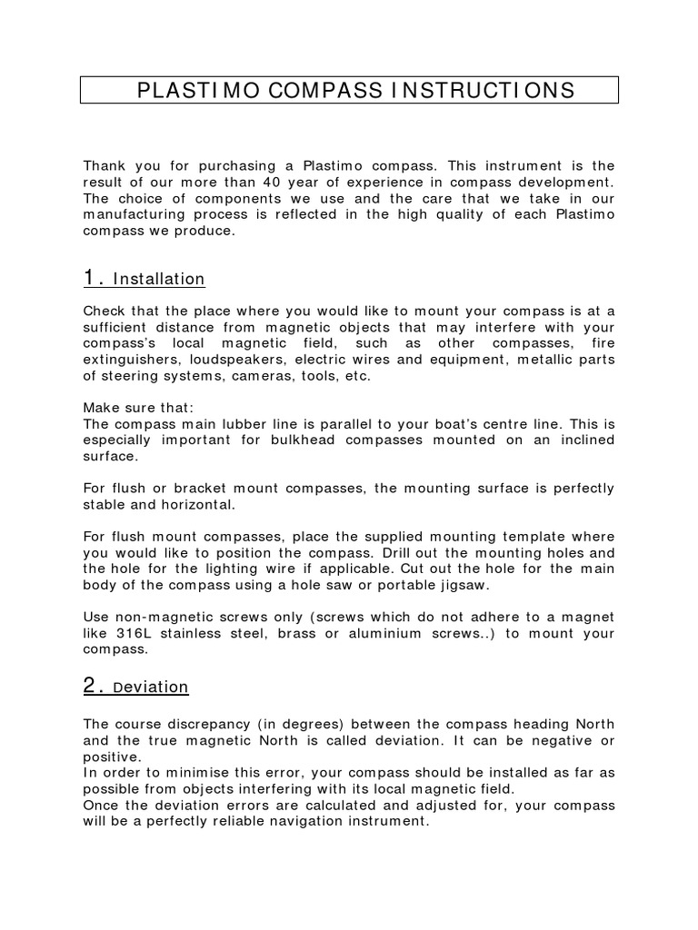 Compass Inst (Uk)  PDF  Compass  Magnetism Pertaining To Compass Deviation Card Template