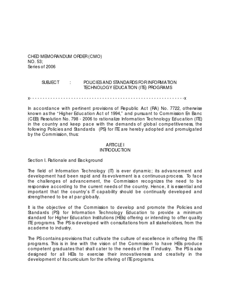 ched cmo 14 Ched memorandum order no 46 s 2012 ched's kra relative to the cmo sec 13 to 14 – ched's commitment to developing cb learning.