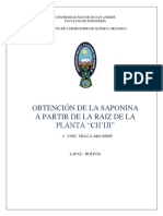 Obtención de la Saponina a partir de las Raíces de la Planta Ch'iji-Ch'iji
