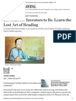 It's Time for Investors to Re-Learn the Lost Art of Reading - MoneyBeat - WSJ