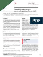 Diagnóstico y manejo de las complicaciones asociadas al uso de nutrición parenteral en pediatría.