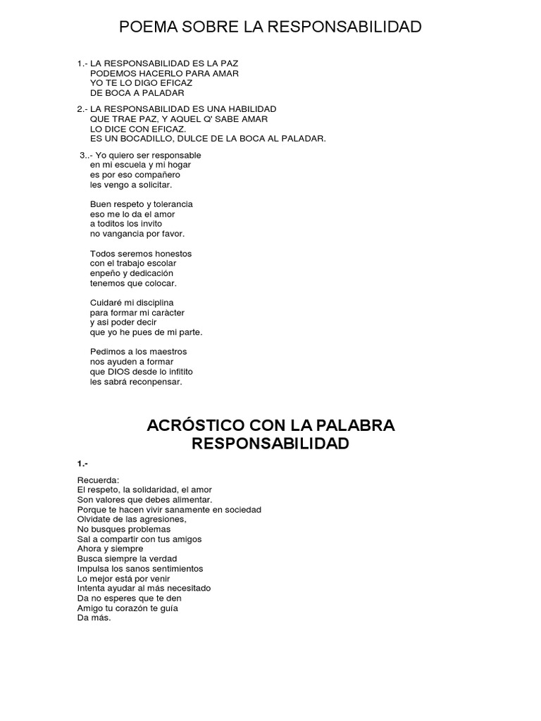 Poema Sobre La Responsabilidad