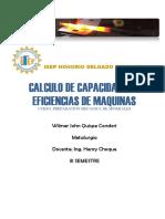 CALCULO DE CAPACIDADES Y EFICIENCIAS EN UN CIRCUITO DE CHANCADO