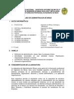 Administracion de Minas silabos 2017-1