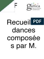 Feuillet Recueil de Dances 1700