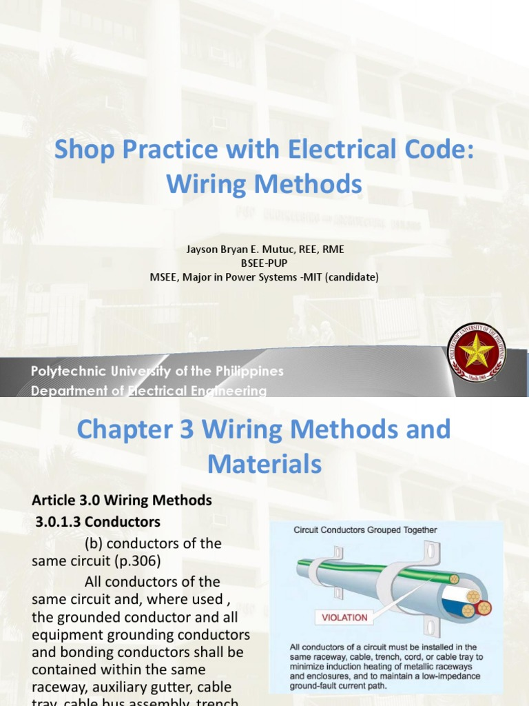 lecture 6 wiring methods electrical wiring electrical conductor rh scribd com writing methods and materials electrical wiring methods and materials