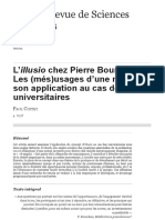 L'illusio chez Pierre Bourdieu. Les (més)usages d'une notion et son application au cas des universit
