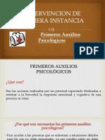 Intervención de Primera Instancia (Primeros Auxilios Psicológicos)