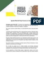 Revelan agenda oficial del papa Francisco en su visita a Colombia