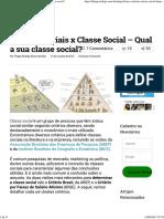 Faixas Salariais x Classe Social - Qual a Sua Classe Social