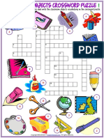 Classroom Objects Vocabulary Esl Crossword Puzzle Worksheet for Kids