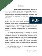 Le communiqué du bureau du Premier Ministre au sujet de  l'adoption de la résolution Chagos aux Nations unies