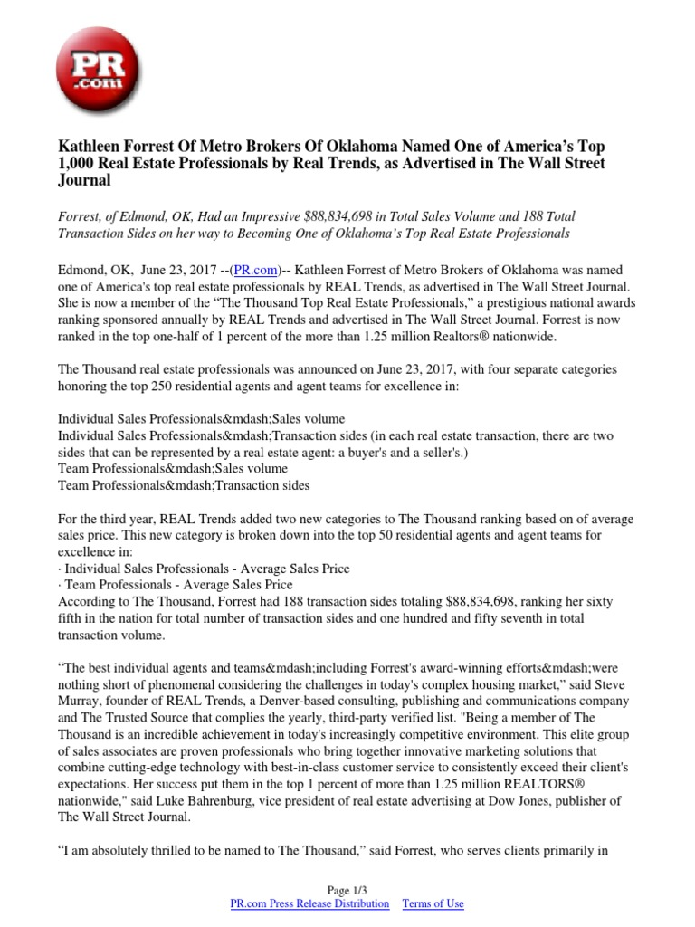 kathleen forrest of metro brokers of oklahoma named one of