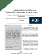 Imigração - Colônias Agrícolas E Etnicidade