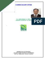 Curriculum Vitae of Dr. G. G. Patel