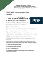 1er Corte Conocimientos Sobre Educación Fisica