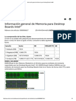 Información general de Memoria para Desktop Boards Intel®