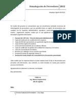 Carta Homologación de Proveedores