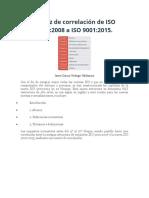 Matriz de Correlación de ISO 9001