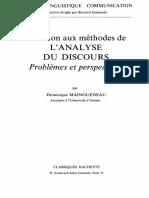 (Langue, linguistique, communication) Dominique Maingueneau-Initiation aux methodes de l'analyse du discours_ Problemes et perspectives-Hachette (1976).pdf