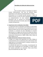 Indicadores Bursátiles de La Bolsa de Valores de Lima