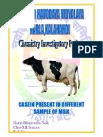 INVESTIGATORY PROJECT CASEIN PRESENT IN DIFFERENT SAMPLE OF MILK