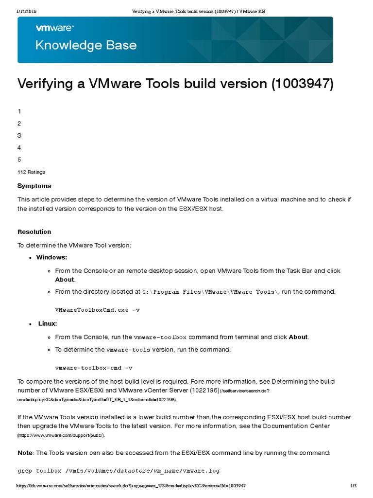 vmware esxi build numbers