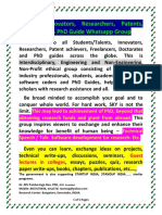 Talents, Innovators, Researchers, Patents, Freelancers & PhD Guideship Whatsapp Group