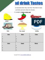 Food and Drink Tastes Worksheet