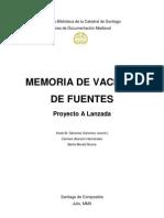 Memoria de Vaciado de Fuentes - A Lanzada