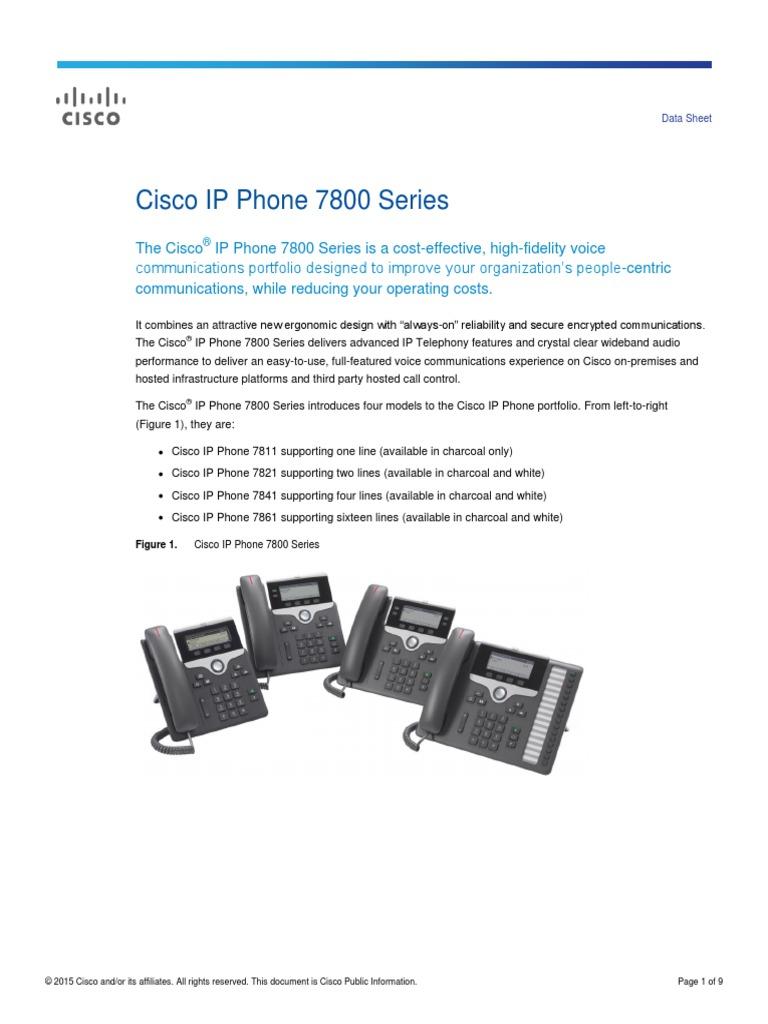 Cisco IP Phone 7800 Series Data Sheet | Telephone | Cisco Systems