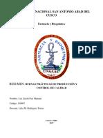 RESUMEN DE BUENAS PRACTICAS EN PRODUCCION Y COPNTROL DE CALIDAD