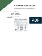 Memoria Descriptiva de Plano de Lotización Lote 02