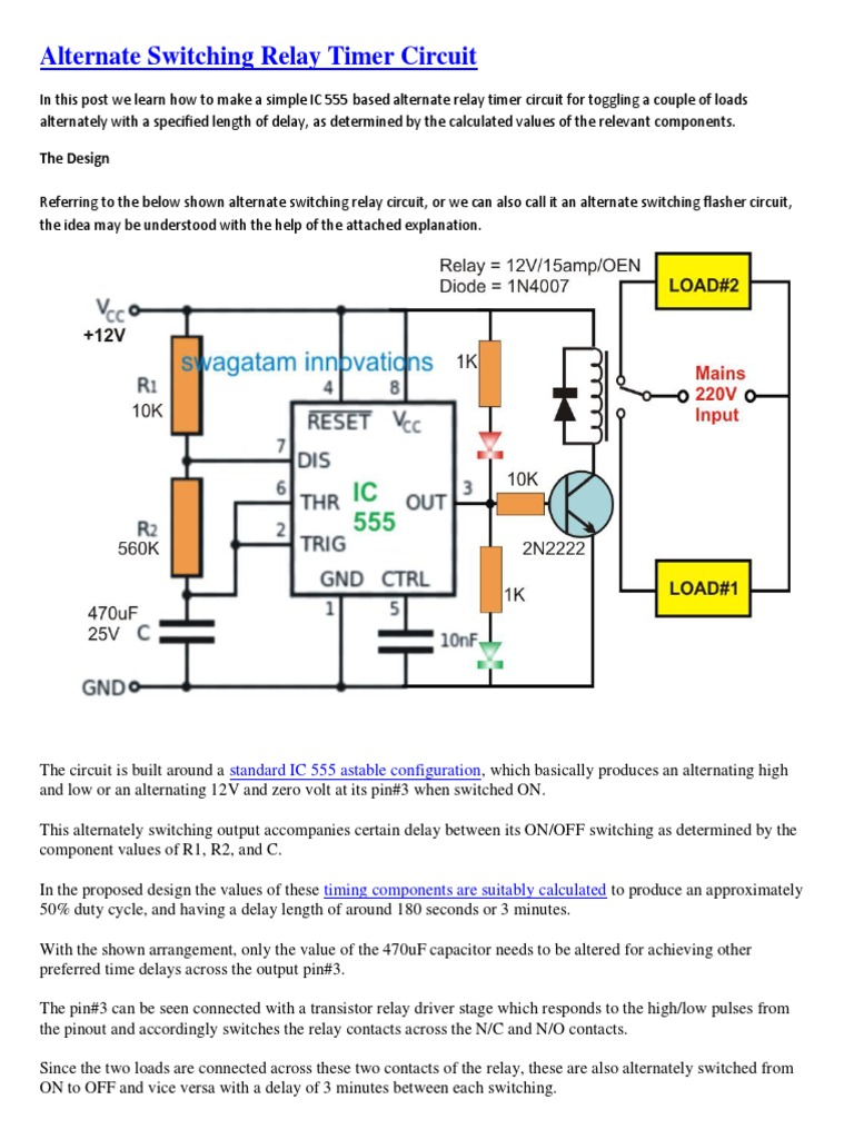 Alternate Switching Relay Timer Circuit Pulse Control With Ic555 Diagram And 1537338981v1