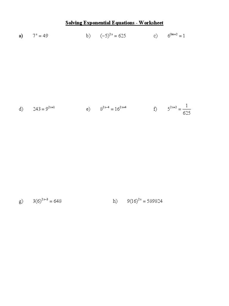 Exponential Equations Worksheet – Worksheet Solving Exponential Equations
