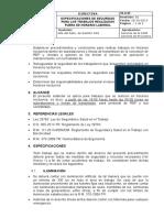 TA-D-05 Especificaciones de Seguridad Para Los Trabajos Realizados Fuera de Horario Laboral
