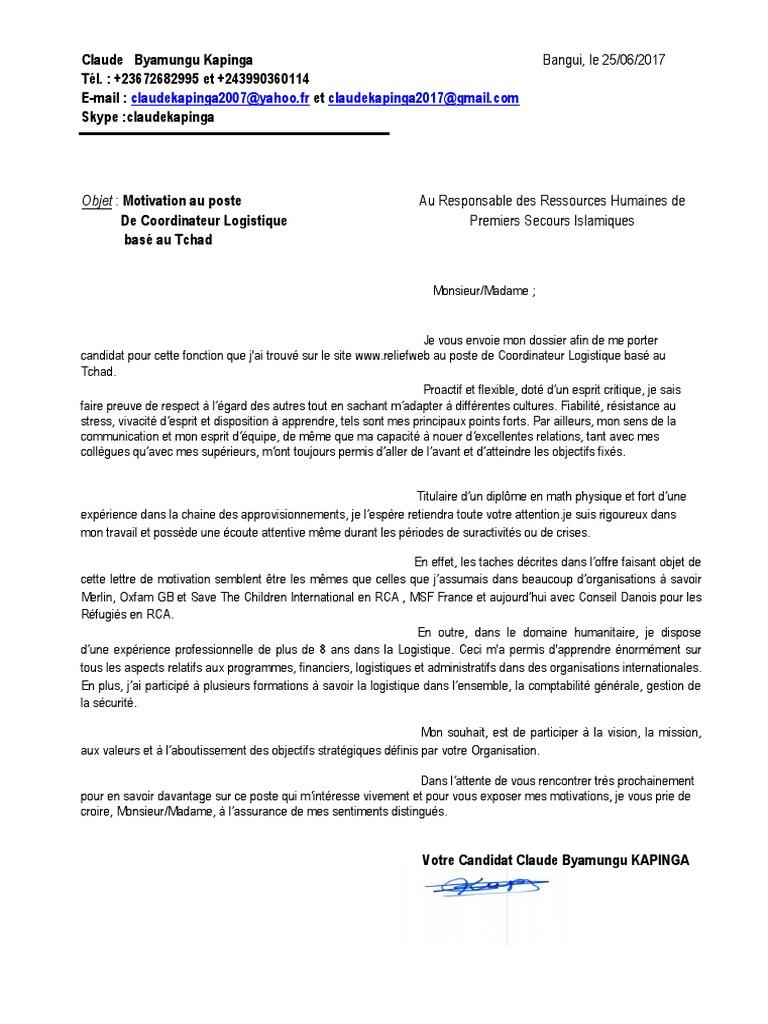 lettre de motivation responsable logistique approvisionnement
