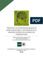 Disencc83o de Intervenciocc81n Basado en Mindfulness Para El Tratamiento de La Ansiedad Escecc81nica en Alumnos Del Conservatorio
