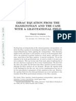 Dirac Equation From the Hamiltonian and the Case With a Gravitational Field